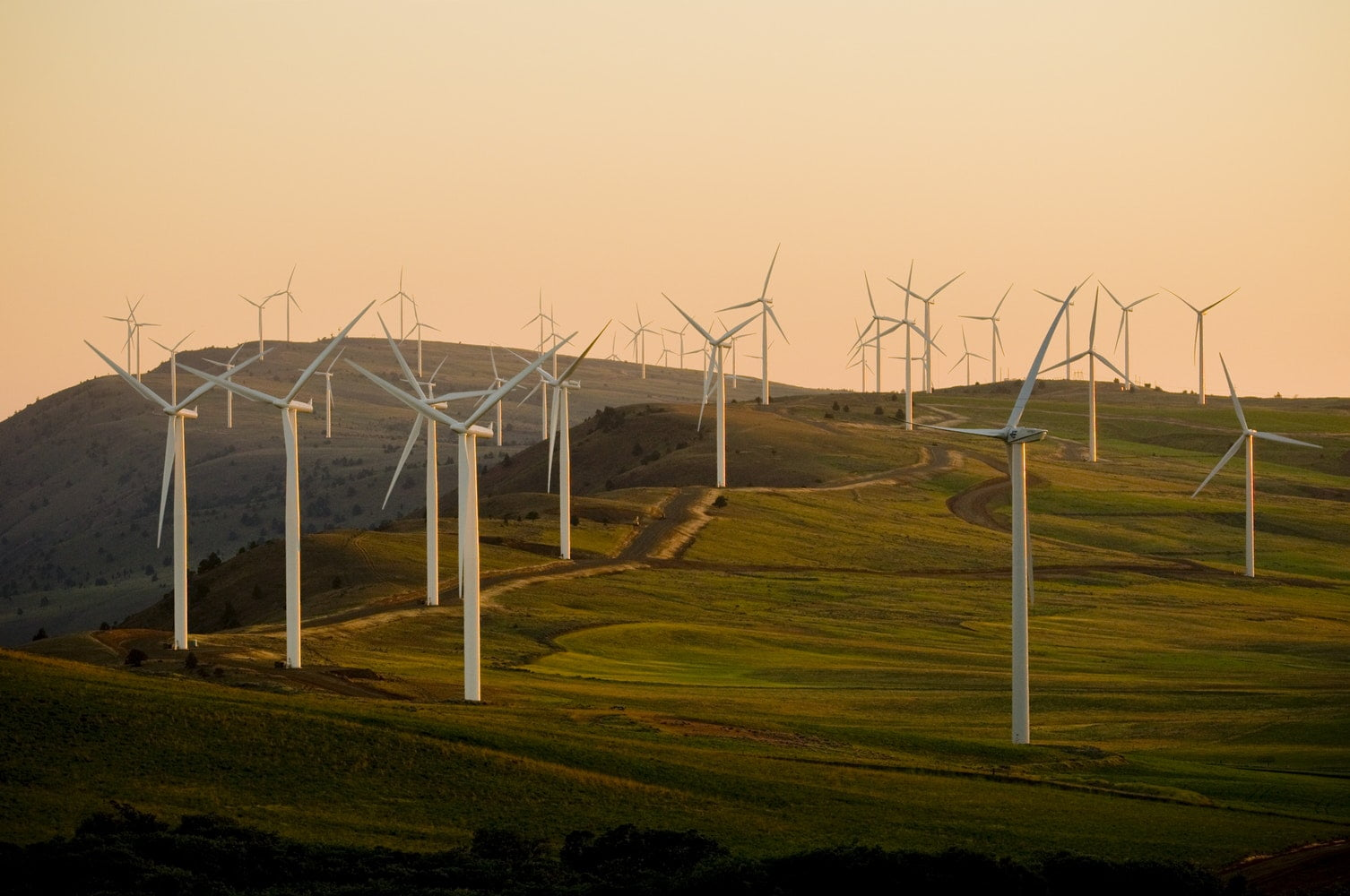 A community owned windfarm in England generating community energy as used by Co-op Energy